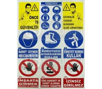 9'lu İş Güvenliği İkaz Levhası (50cm*70cm)